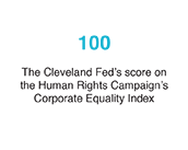 100: The Cleveland Fed's score on the Human Rights Campaign's 2016 Corporate Equality Index
