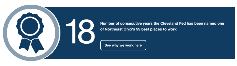 18: Number of consecutive years the Cleveland Fed has been named one of Northeast Ohio's 99 best places to work