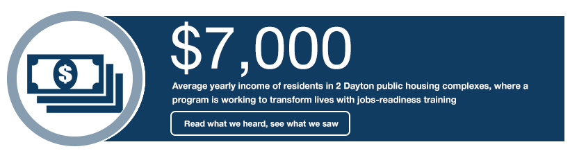 $7,000 Average yearly income of residents in 2 Dayton public housing complexes, where a program is working to transform lives with jobs-readiness training