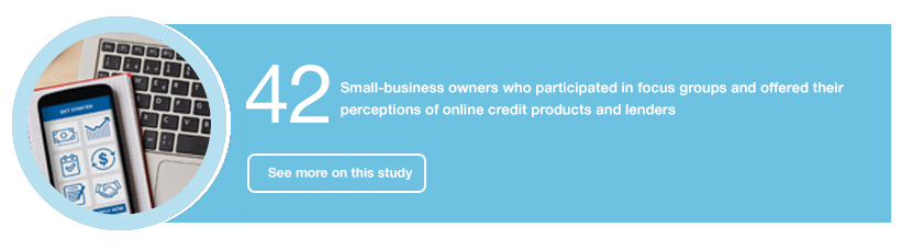 42 Small-business owners who participated in focus groups and offered their perceptions of online credit products and lenders
