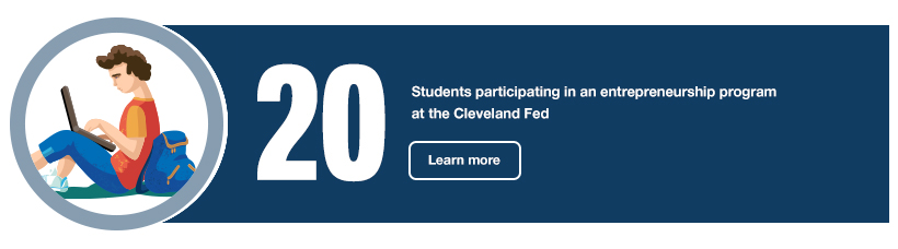 20 students participating in an entrepreneurship program at the Cleveland Fed