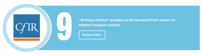 "9: ""All things inflation"" available on the Cleveland Fed's Center for Inflation Research website. Explore them"