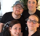 Opening-week employees at Native Bagel Company, which went from farmers' market vendor to brick-and-mortar shop. From top left, clockwise: Holden Dielmann, Michael Startzman, Katie Startzman, and Abigail Nittle. Courtesy of Katie Startzman