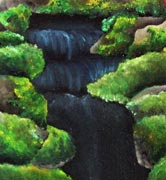 "Oil painting based on a photograph artist Gina Dittmeier took of a small fountain on the Berea College campus. ""I thought it looked better as a waterfall,"" she says. Courtesy of Gina Dittmeier"