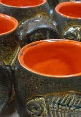 Fishbone fossil mugs by Jonathan Dazo, a potter in Berea, Kentucky. Courtesy of Jonathan Dazo
