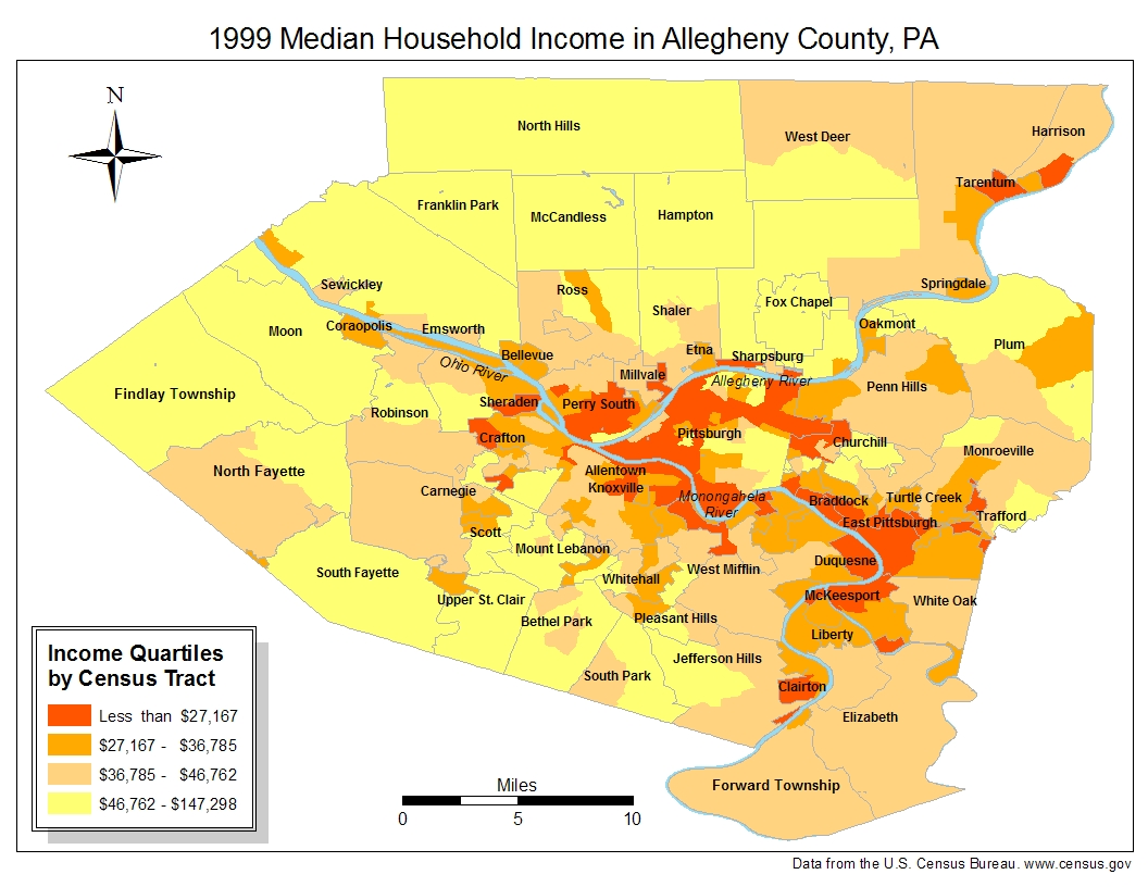 Map 2. 1999 Median Household Income for Allegheny County