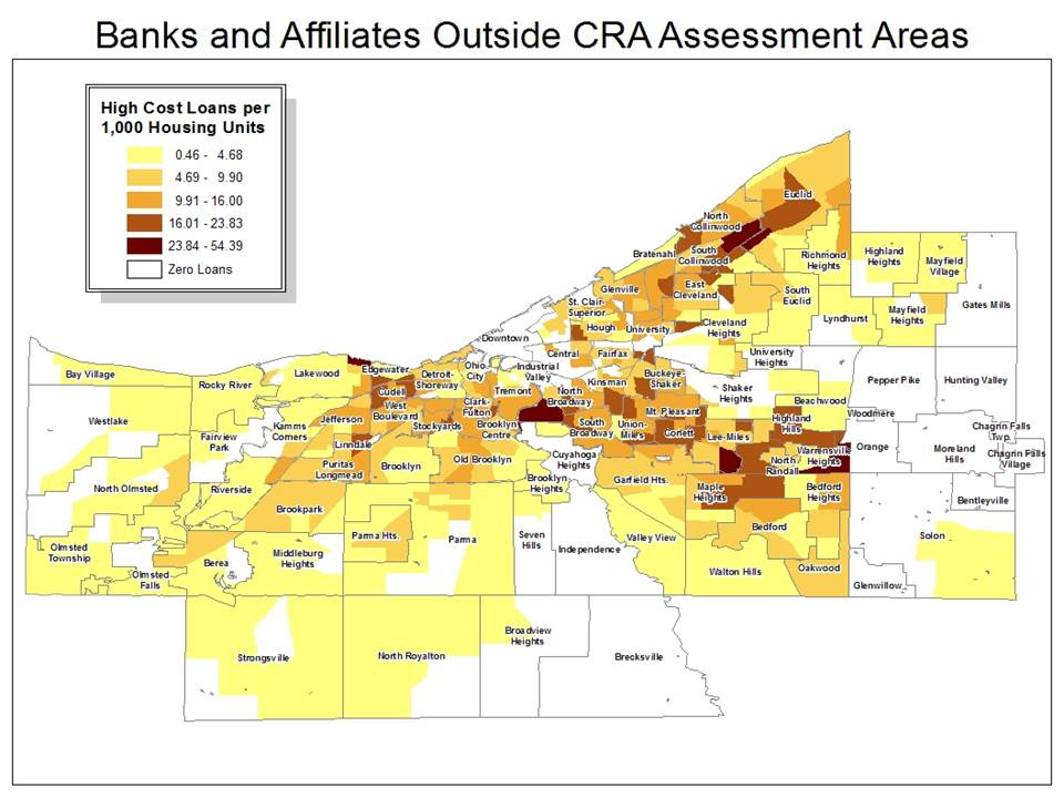 Map 2. Banks and Affiliates Outside CRA Assessment Areas