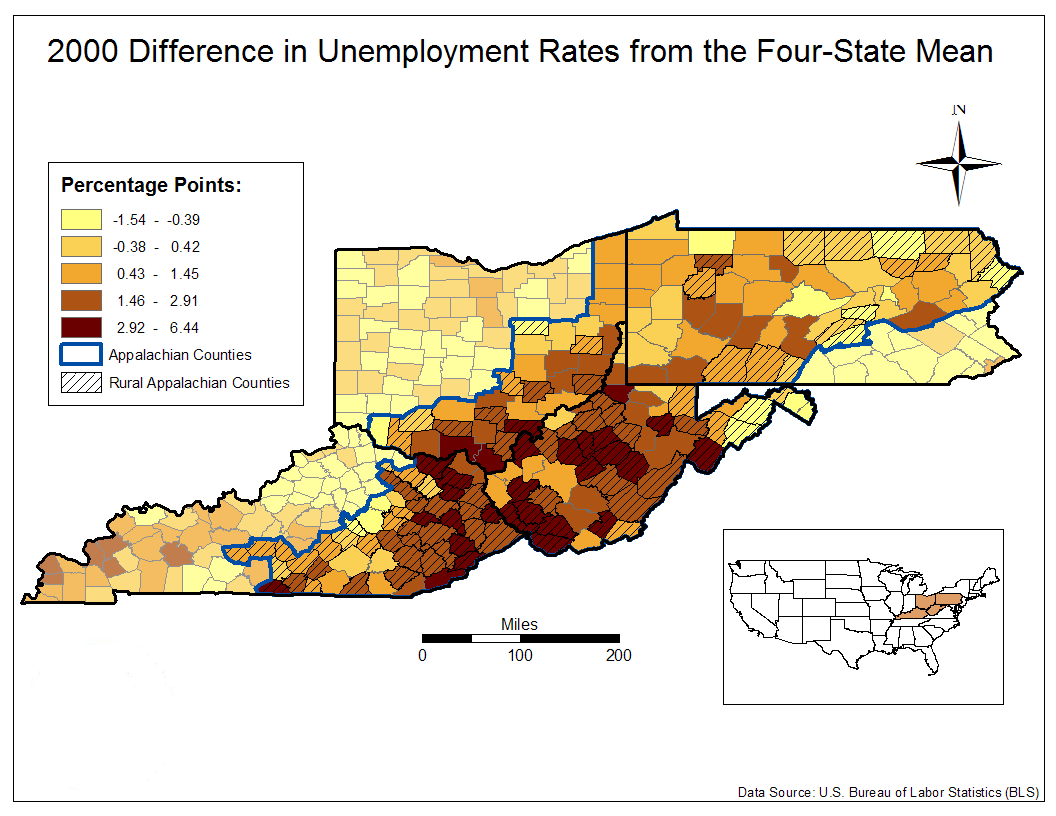 2000 Difference in Unemployment  Rates from the Four-State Mean