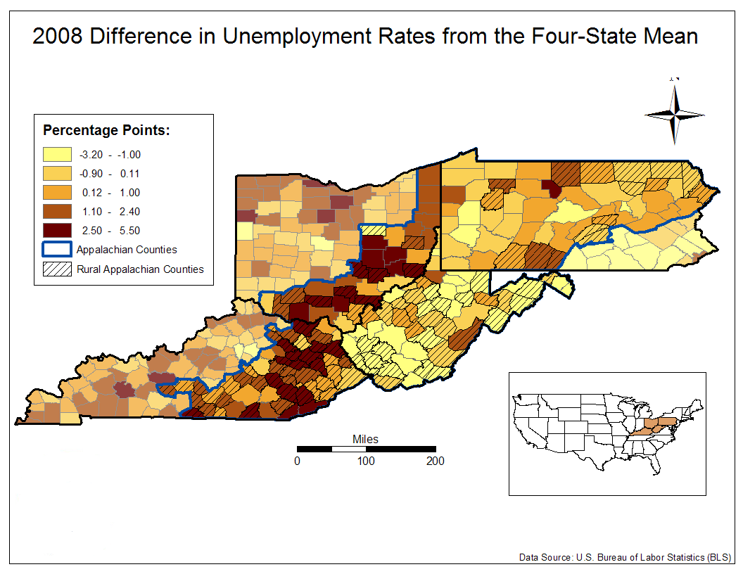 2008 Difference in Unemployment Rates from the Four-State Mean