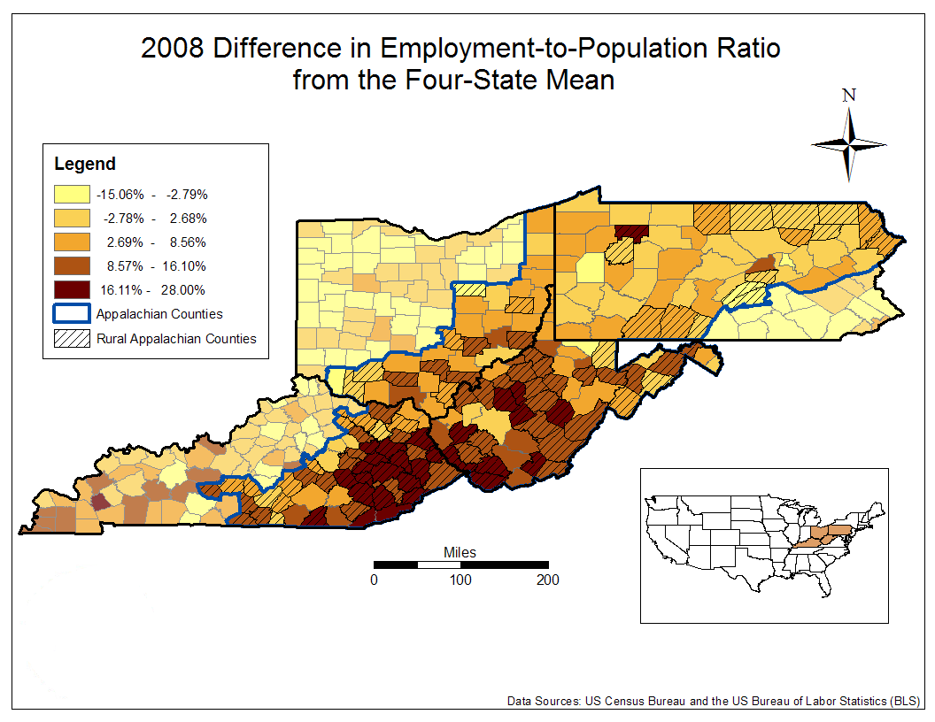 2008 Difference in Employment-to-Population Ratio from the Four-State Mean