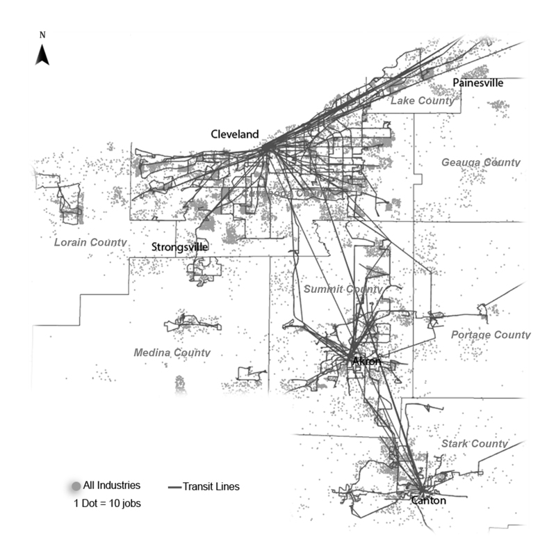 Transit network and jobs in Northeast Ohio