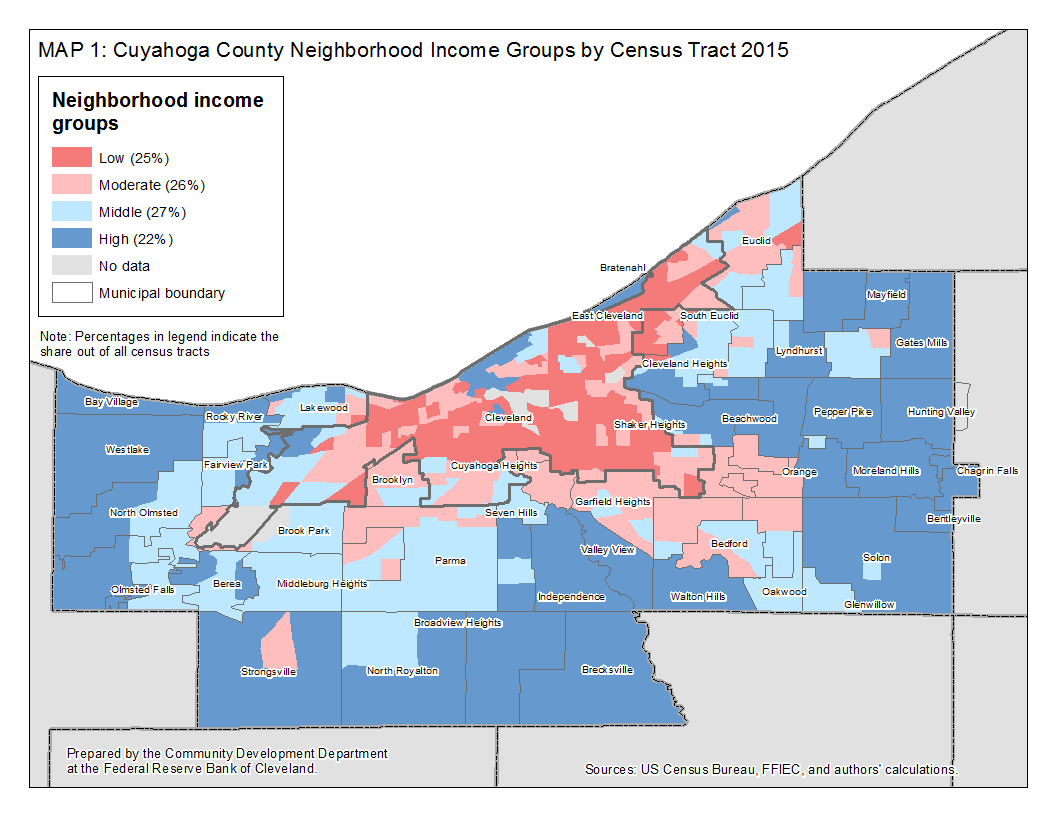 Map 1: Cuyahoga County Neighborhoods Income Groups by Census Tract 2015