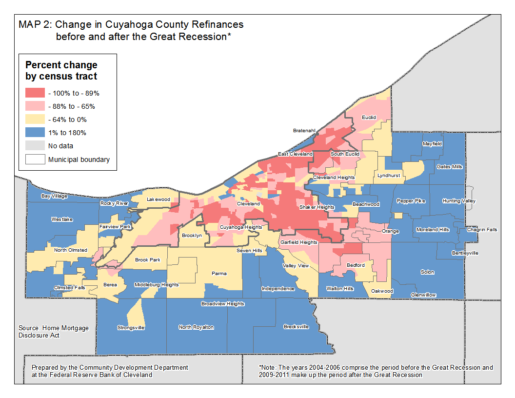 Map 2: Change in Cuyahoga County Refinances before and after the Great Recession