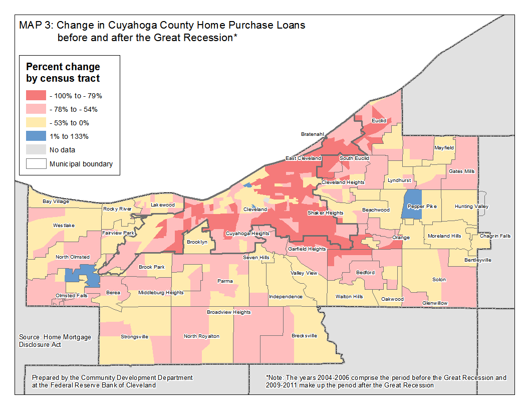 Map 3: Change in Cuyahoga County Home Purchase Loans before and after the Great Recession