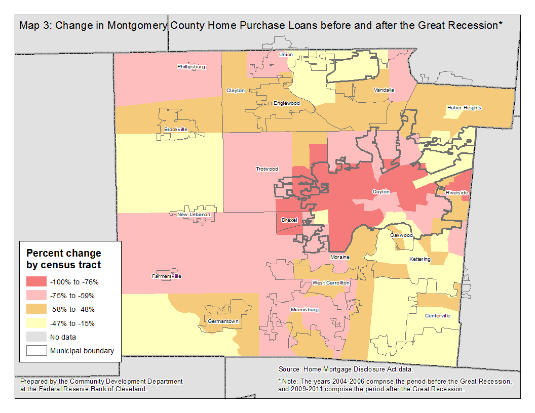 Map 3: Change in Montgomery County Home Purchase Loans before and after the Great Recession