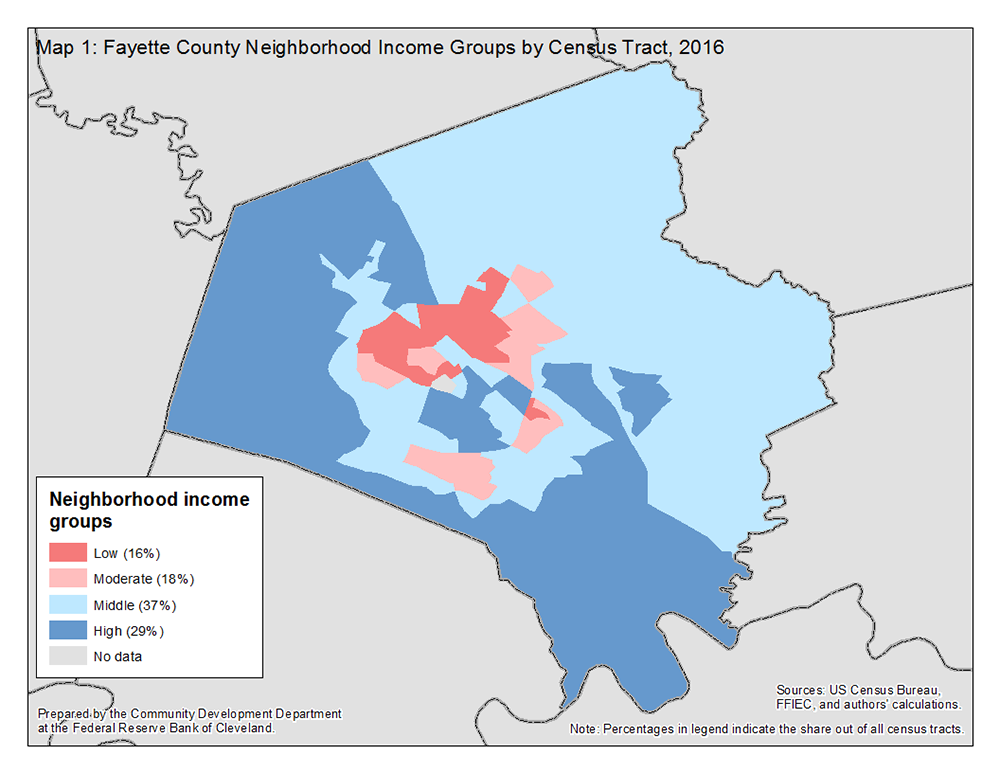 Map 1: Fayette County Neighborhood Income Groups by Census Tract, 2016