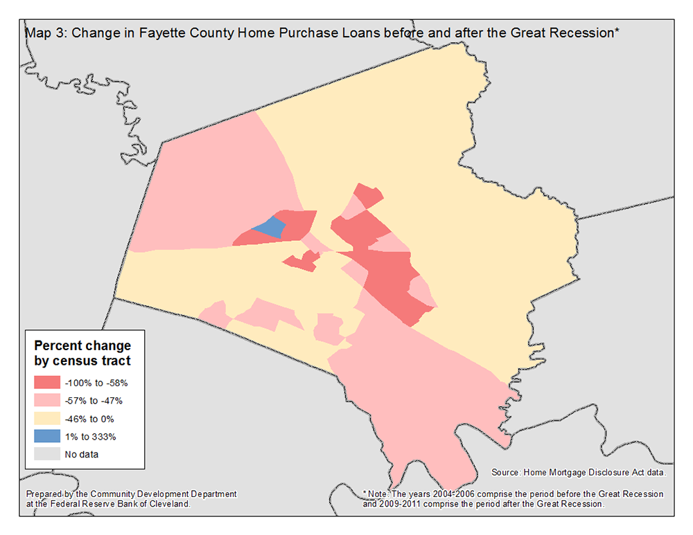 Map 3: Change in Fayette County Home Purchase Loans before and after the Great Recession*