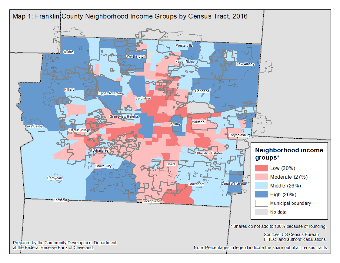 Map 1: Franklin County Neighborhood Income Groups by Census Tract, 2016