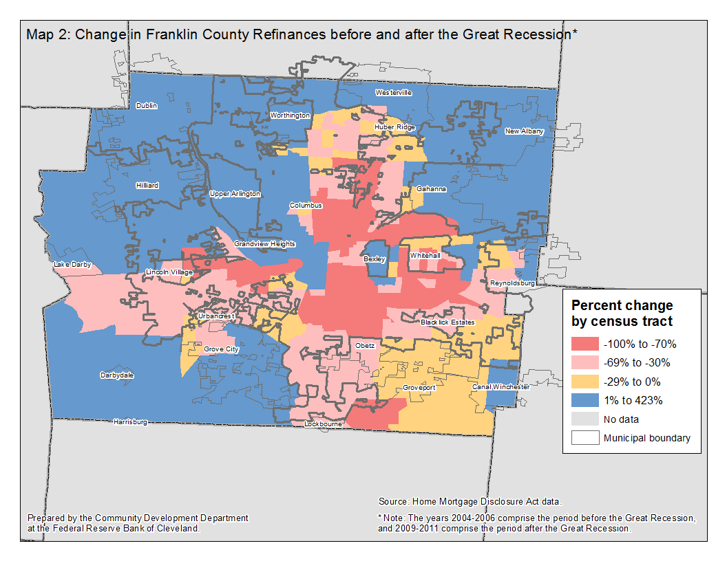 Map 2: Change in Franklin County Refinances before and after the Great Recession*