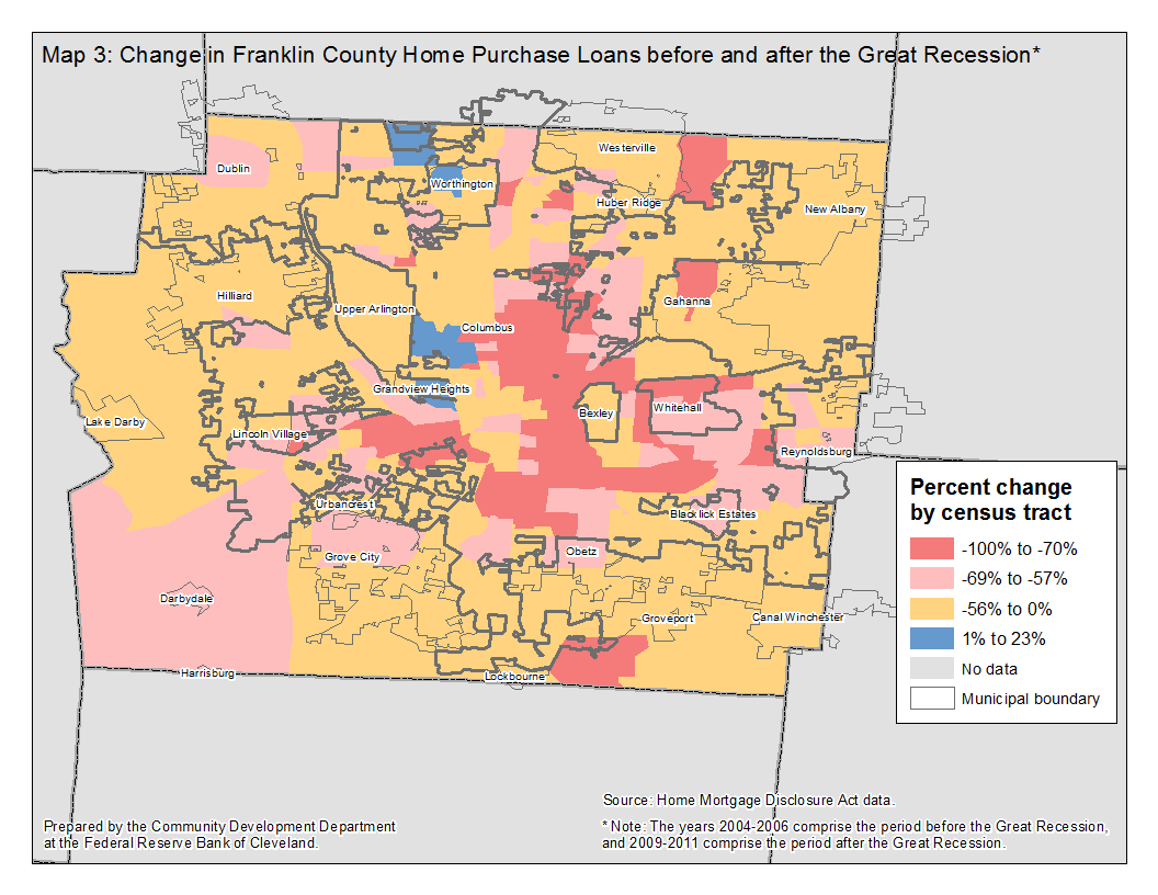 Map 3: Change in Franklin County Home Purchase Loans before and after the Great Recession*