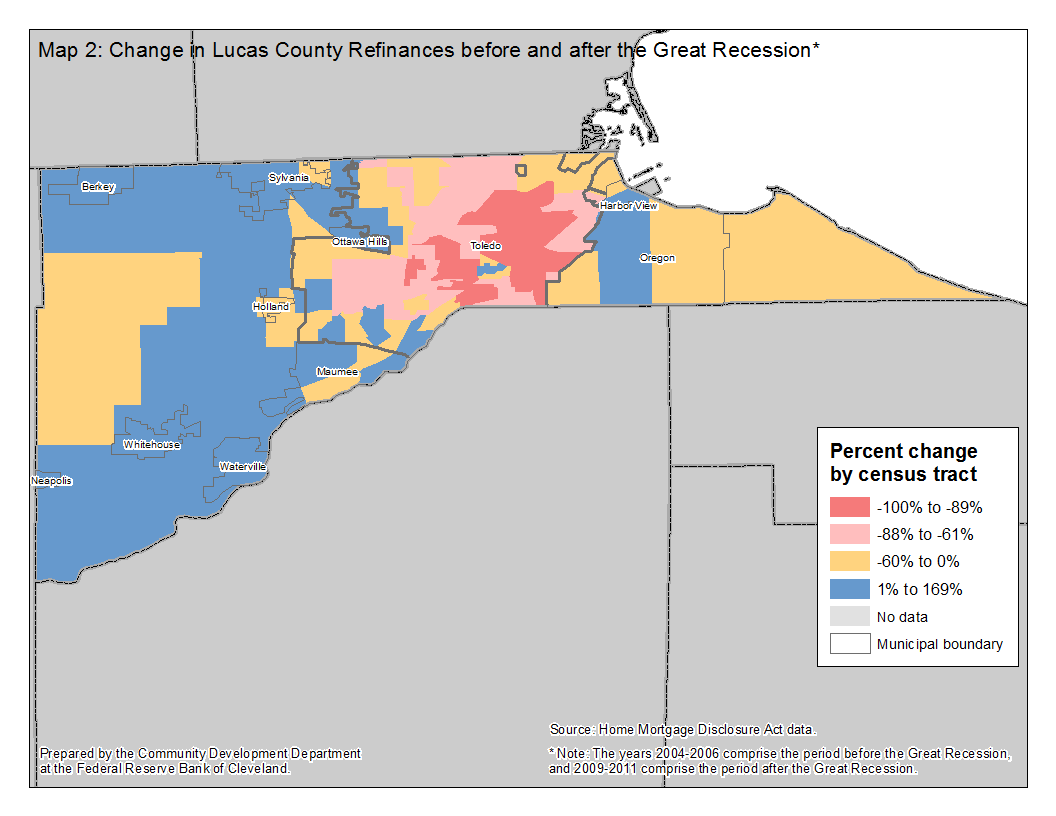 Map 2: Change in Lucas County Refinances before and after the Great Recession*