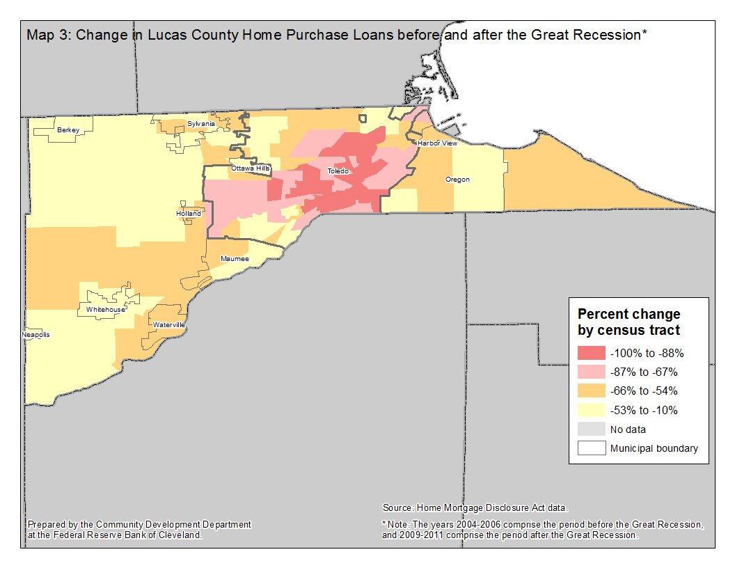 Map 3: Change in Lucas County Home Purchase Loans before and after the Great Recession*