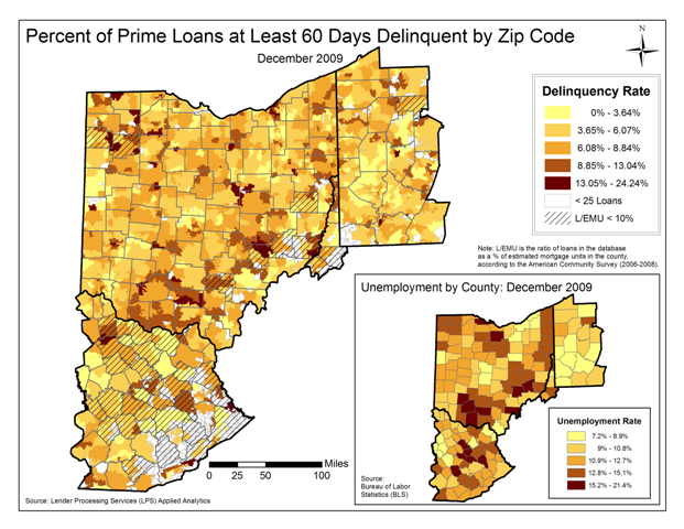 Figure 1: Percentage of Prime Loans at Least 60 Days Delinquent by Zip Code December 2009