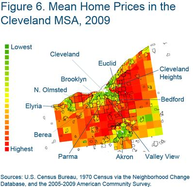 Figure 6 Mean home prices in the Cleveland MSA, 2009