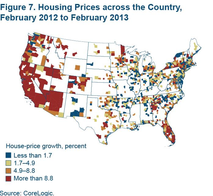 Figure 7 Housing prices across the country, February 2012 to February 2013
