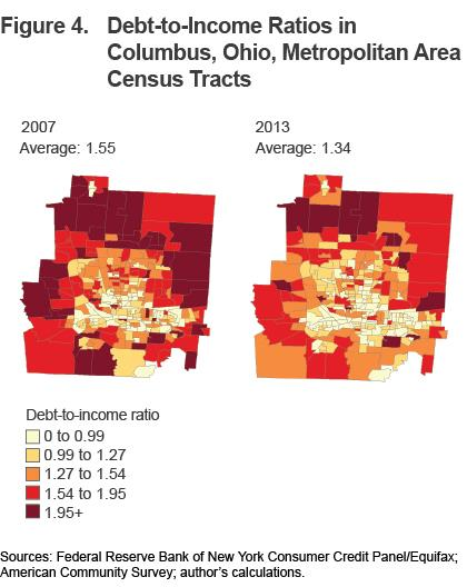 Figure 4 Debt-to-income ratios in Columbus, Ohio, Metropolitan Area census tract