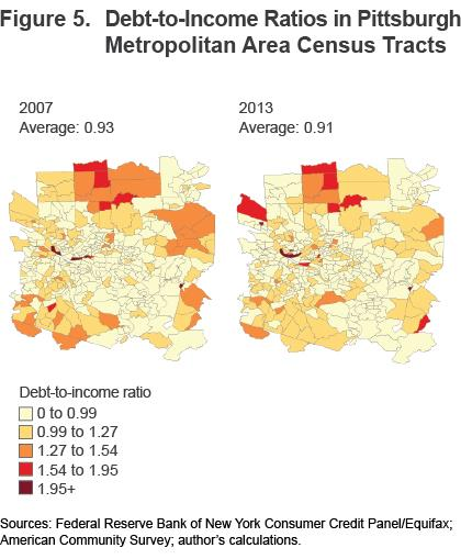 Figure 5 Debt-to-income ratios in Pittsburgh Metropolitan Area census tracts