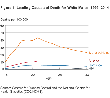 Figure 1. Leading Causes of Death for White Males, 1999–2014