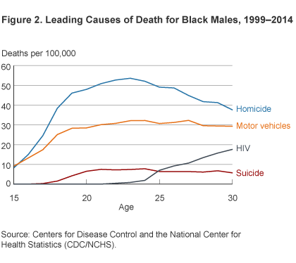 Figure 2. Leading Causes of Death for Black Males, 1999–2014