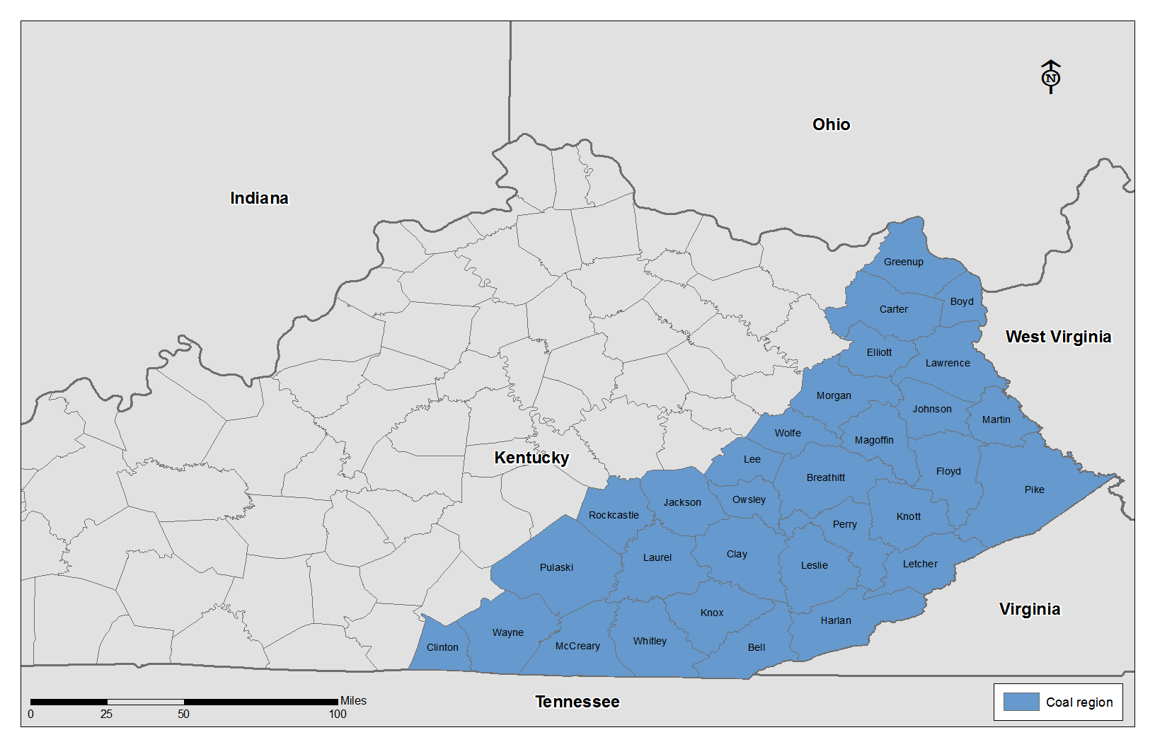 Roughly 31 counties make up eastern Kentucky coal country.