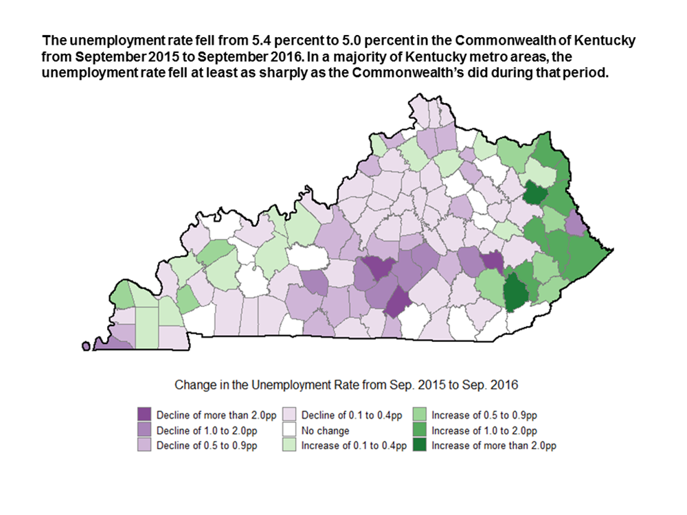 The unemployment rate fell from 5.4 percent to 5.0 percent in the Commonwealth of Kentucky from September 2015 to September 2016. In a majority of Kentucky metro areas, the unemployment rate fell at least as sharply as the Commonwealth's did during that period.