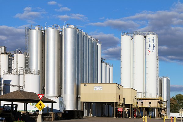 Industrial storage tanks loom several stories high at a chemical production plant in western Ohio.