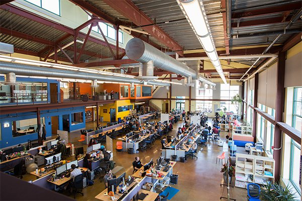 While not as obviously tangible as steel or heavy machinery, the digital product industry in Pittsburgh, Pennsylvania, is alive and growing. The open workspace at Schell Games, pictured here, is intended to foster collaboration among designers.